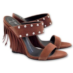 NEW Taline Studded Suede Wedge Sandal - Brown